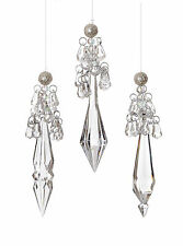 3 x Vintage style sparkle pretty Crystal Drop Christmas tree Baubles Decorations