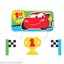 DISNEY CARS 1ST BIRTHDAY PARTY SUPPLIES CANDLE MINI MOULDED PACK OF 4