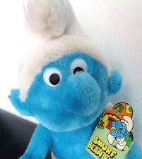 "Vintage 1979 Smurf Bean Bag Plush Toy Schleich Peyo #600 Wallace Berrie 10"" Tag"