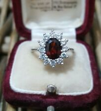 STERLING SILVER CLUSTER RING, GARNET & CUBIC ZIRCONIA, SIZE M