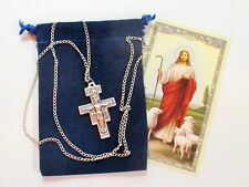 Beautiful San Damiano Cross Crucifix Pendant with 24 Inch Necklace