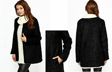 Ladies Black Faux Fur Open Front & Lined Jacket with Side Pockets UK Medium