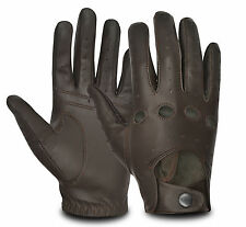 MEN'S LEATHER CHAUFFEUR STYLE DRIVING GLOVES SLIM FIT ROAD MOTORBIKE BIKE RETRO