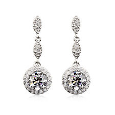 STUNNING 18K WHITE GP GENUINE CLEAR SWAROVSKI CRYSTAL AND CZ  DANGLE EARRINGS