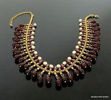 70s echte Zuchtperlen & dunkelrote Beeren edel chic Halskette Kette Collier, RAR