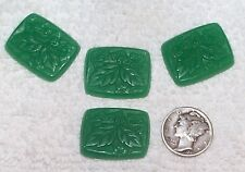 VINTAGE SUPERB CARVED JADE GREEN FLOWER GLASS JEWELS 6 PIECES WOW! GREEN
