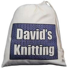 PERSONALISED - MEN'S KNITTING BAG - LARGE COTTON DRAWSTRING BAG - Add your name!