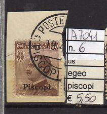 FRANCOBOLLI COLONIE EGEO PISCOPI USATI N°6 (A7041)