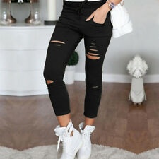 Fashion Womens Stretch Faded Ripped Jeans Pants Ladies Slim Fit Skinny Leggings