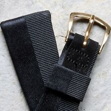 Vintage Mathey Tissot grosgrain black silk-covered leather 19mm watch band 1960s