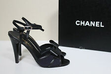 New 6.5 / 36.5 CHANEL Bow Open Toe Black Leather Ankle Sandal CC Heel Shoes