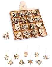 SET 48 FINE DETAIL DELUXE WOODEN CHRISTMAS TREE DECORATIONS SNOWFLAKES & SNOWMAN