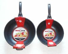"2pc Mega Cook 32cm (12.5"") 28cm (11"") Ceramic Marble Coated Wok Fry Pan Set"