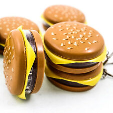Cute Hamburger Cheese LED Flash Light Functional Keychain Key Chain Ring A0109