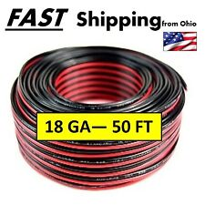 Automotive Hook Up Wire - 50 feet - - Red & Black - - Speaker Wire - - 18 Gauge