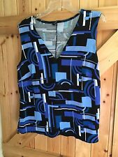"Close Fit Vest Style Top Blue & Black Patterned Size 22 Chest 44"" By Essence"