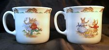 2 Royal Doulton China BUNNYKINS Cup/Mug One Handle Roller Skating & Puppet Show