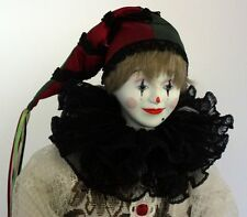 Elizabethan Court Jester Clown Doll Porcelain Lace Costume