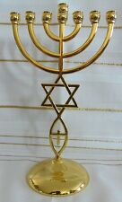 "8.5"" Messianic Hannukah Jewish Star of David GOLD Jerusalem Temple Menorah"