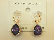CHARTER CLUB Cabochon Purple Stone Drop Earrings NEW