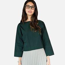 BNWT UNIQLO WOMENS Cotton 3/4 kimono Sleeve Blouse bottle green size 12/14