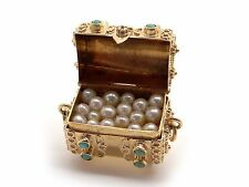 Retro Ornate 18k Yellow Gold Pearl Turquoise Treasure Chest 3D Charm