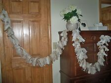 Wedding Natural Burlap Lace Jvory Garland 10ft.- Decoration Rastic chic