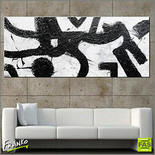 HUGE MODERN ABSTRACT TEXTURE PAINTING BLACK WHITE 240cm x 100cm Franko Australia