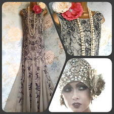 sallow grey silver bead patra 20s deco gatsby evening vintage dress 10/12 40