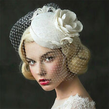 Wedding Bridal Ivory Pillbox Hat Flower Church Derby Fascinators Face Veil Clips