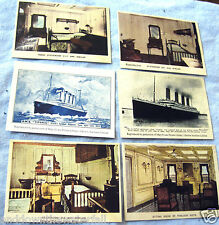 6 TITANIC Card Photos Vintage Old Ship Rooms Cabins Black & White Boat Pictures