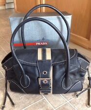 Prada Vitello Black Leather Daino Stripe Shoulder Bag Authentic *EUC*