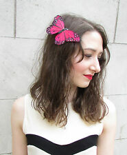 Large Red Black Real Feather Butterfly Fascinator Hair Clip Rockabilly Vtg 5AK
