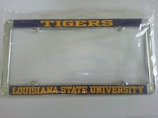 TIGERS  LSU CAR  METAL LICENSE PLATE FRAME + 2 Tiger Car Stickers