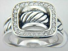 David Yurman Diamond Buckle Ring Sterling Silver size 7