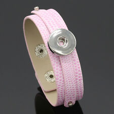 2016 Hot leather Bracelets Drill fit For Noosa Snaps Chunk Charm Button