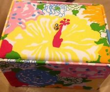 lilly pulitzer Fabric jewelry box Holder Heritage Yellow Floral Peacock