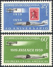 Colombia 1959 Planes/Aircraft/Aviation/Stamp-on-Stamp/Transport 2v set (n27405)
