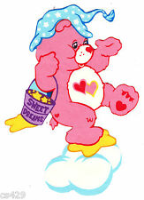 """7"""" CARE BEARS ON A CLOUD LOVE-A-LOT  GLOW IN THE DARK FABRIC APPLIQUE IRON ON"""
