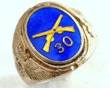 Antique Authentic US Army Infantry Enamel Sterling Silver Ring Size 7 1/4