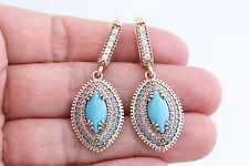 Special Turkish Jewelry Marquise Turquoise Topaz 925 Sterling Silver Earrings