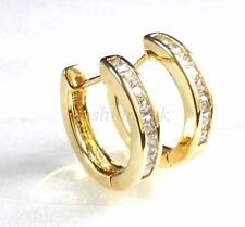 Men Women 17mm Medium Huggie Hoop Earrings CZ Cubic 14K Yellow Gold Yellow lated