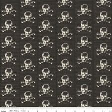 LOST & FOUND BLACK SKULL AND CROSSBONES HALLOWEEN FABRIC