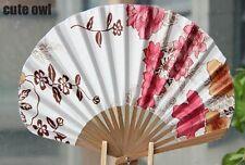 Asian Chinese Hand Held Folding Silk Bamboo Fan Pink Flower Art Crafts Fan