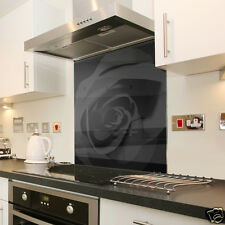 Black Rose Design Glass Splashback Made To Measure 60cm X 75cm
