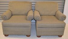Ethan Allen Upholstered Occasional Chairs Two Club Chairs #72-7551 Green/Gold