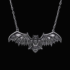 RESTYLE LACE BAT SILVER NECKLACE. VICTORIAN GOTHIC. ALCHEMY SYMBOLS. OCCULT.
