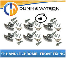 Chrome Plated Front Fixing 'T' Lock / Handle (Trailer Caravan Canopy Toolbox) x6