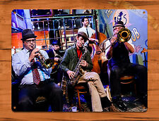 """TIN-UPS TIN SIGN """"Jazz Band At The Spotted Cat"""" New Orleans Art Wall Decor"""