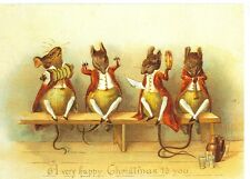 CHRISTMAS DRESSED MICE PLAYING MUSICAL INSTRUMENTS REPRODUCTION (X-249)
